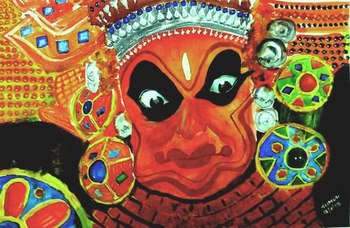 ,Theyyam,ART_1357_11405,Artist : Sumod Sudhakaran,Water Colors
