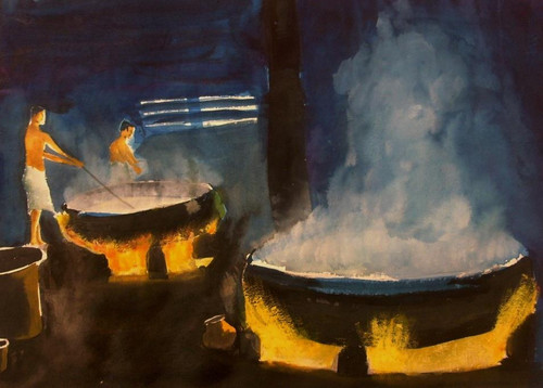 Kitchen, cooking,Chefs in Action,ART_1357_11402,Artist : Sumod Sudhakaran,Water Colors
