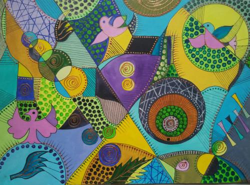 ,tribal art,ART_1243_11354,Artist : Ujwala Chavan,Acrylic
