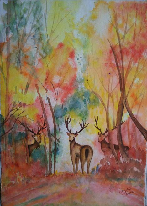 ,deers,ART_1243_11352,Artist : Ujwala Chavan,Water Colors