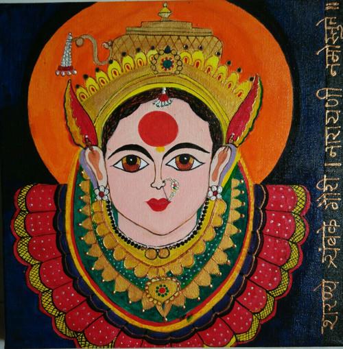 ,mahalaxmi devi,ART_1243_11350,Artist : Ujwala Chavan,Acrylic