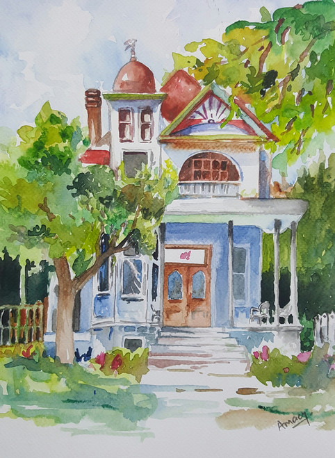 house, home, warm, spring, summer, english, cottage, landscape, scenery, trees,English cottage,ART_607_11433,Artist : Amaey Parekh,Water Colors