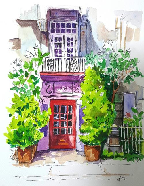 door, country, english, borough, pen, urban, city, watercolor, sketch, real,The borough,ART_607_11431,Artist : Amaey Parekh,Mixed Media