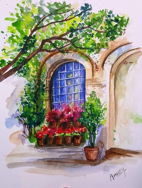 window,glass,watercolor,city,scenery,landscape, day,blue,flowers,garden,the arched window,ART_607_11430,Artist : Amaey Parekh,Water Colors