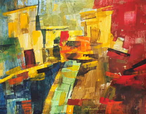 abstract Street, abstract, Ramesh, architect, building, modern painting, Street, contrast colour painting, Houses,Street 1,ART_1380_11525,Artist : Ramesh AR,Acrylic