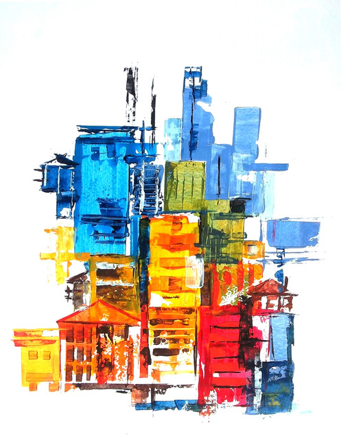 abstract city, Blue, abstract, Ramesh, architect, building, modern painting, Street, contrast colour painting,The City 11,ART_1380_11524,Artist : Ramesh AR,Acrylic