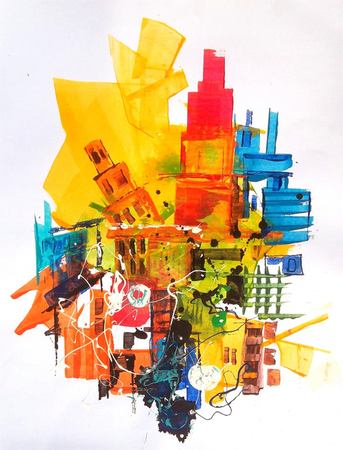 abstract city, brown, abstract, Ramesh, architect, old building, modern painting, rustic colour painting, mild colour painting,The City 10,ART_1380_11523,Artist : Ramesh AR,Acrylic