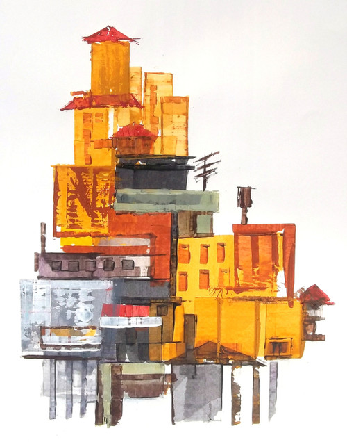 abstract city, brown, yellow, abstract, Ramesh, architect, old building, modern painting, rustic colour painting, mild colour painting,The City 9,ART_1380_11522,Artist : Ramesh AR,Acrylic