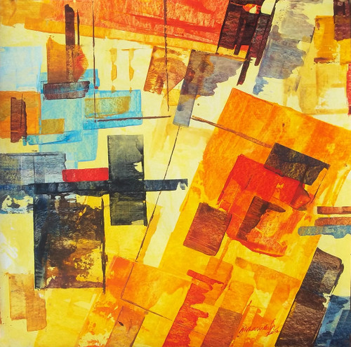 :  abstract city, brown, Yellow, abstract, Ramesh, architect, old building, modern painting, rustic colour painting,mild colour painting, City,The City 7,ART_1380_11518,Artist : Ramesh AR,Acrylic