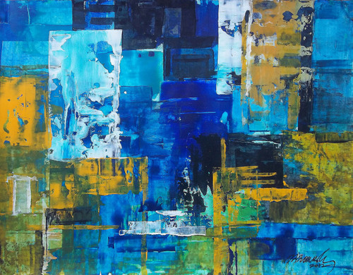 abstract city,Blue, abstract, Ramesh, architect, old building, modern painting, Street, contrast  colour painting,The City 5,ART_1380_11516,Artist : Ramesh AR,Acrylic