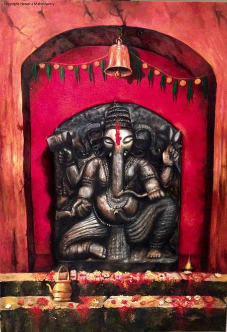 Ganesha,Ganesh,Religious,Ganesha - Shubh Aarambh,ART_237_7862,Artist : NATASHA MAHESHWARY,Acrylic and charcoal