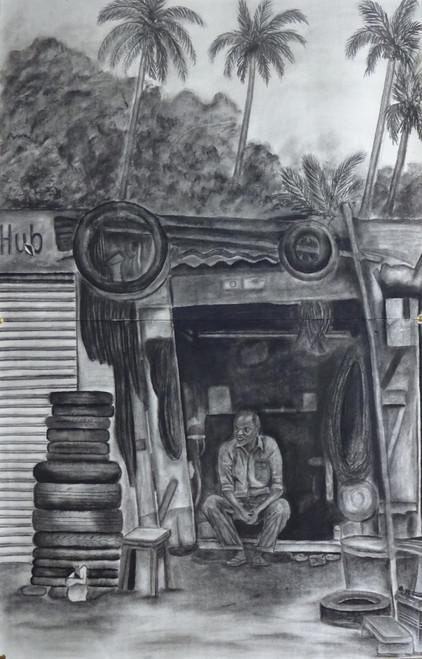 ,puncture shop,ART_329_11434,Artist : Shiva prasad Reddy,Charcoal