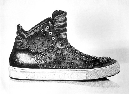pen on paper,Philip Plein Shoe,ART_1392_11612,Artist : Sanchit Raj,Ink