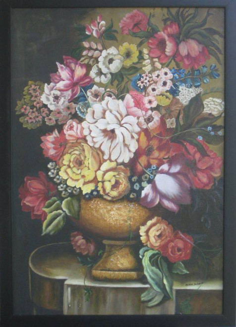 Floral,Flowers in Golden Pot,ART_1385_11633,Artist : Chitra Ariram,Oil