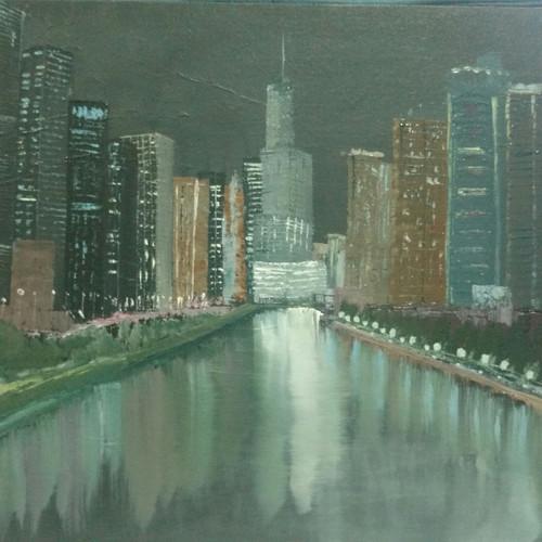 ,City that never sleeps,ART_1390_11601,Artist : Priyamvada Bhardwaj,Oil