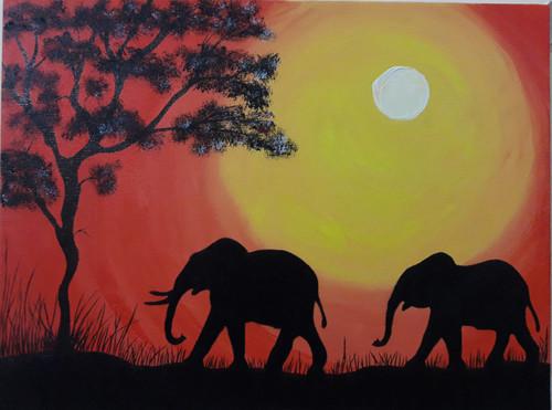 silhouette, love, elephant, sunset, sunrise, strong,Love is strong,ART_359_11581,Artist : Latesh Nair,Acrylic