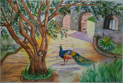 ,peacock,ART_1243_11584,Artist : Ujwala Chavan,Water Colors