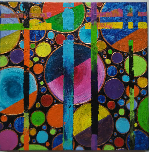 ,abstract circles,ART_1243_11583,Artist : Ujwala Chavan,Acrylic