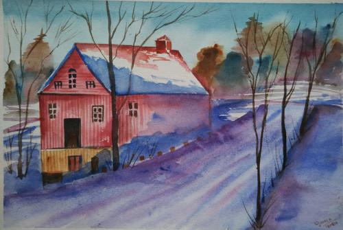 ,snow house,ART_1243_11582,Artist : Ujwala Chavan,Water Colors