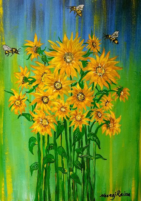 Sunflower ,Bumble Bee,Bumble Bee And Their Sunflower Inspiration Story,ART_1252_11691,Artist : Neeraj Raina,Acrylic