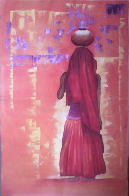Village,Lady in Red,ART_1385_11683,Artist : Chitra Ariram,Oil