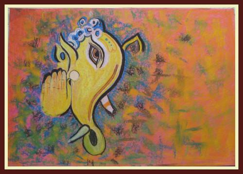 Ganesha,Ganesha1,ART_1385_11674,Artist : Chitra Ariram,Pastels