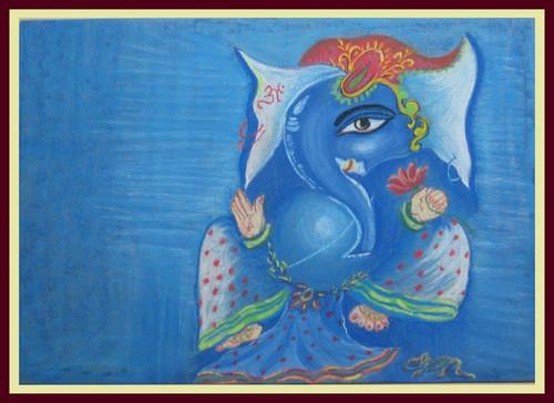 Ganesha,Ganesha3,ART_1385_11672,Artist : Chitra Ariram,Pastels