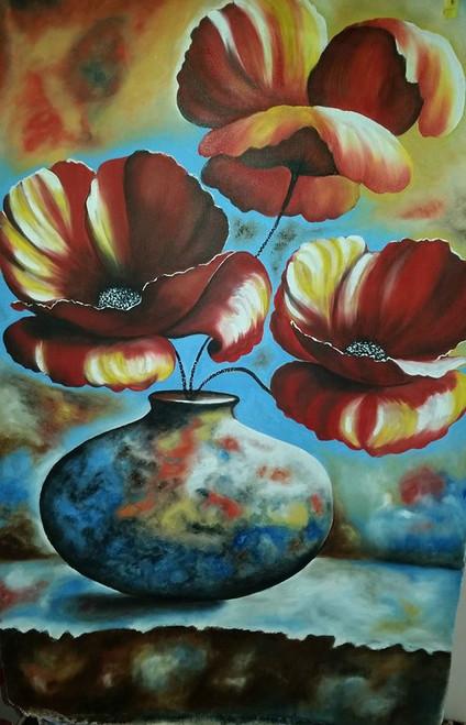 Floral,Colored Pot,ART_1385_11671,Artist : Chitra Ariram,Oil
