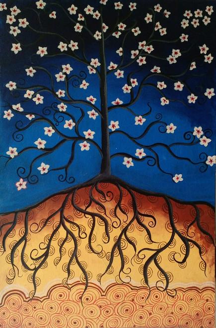 tree,contemporary,night,flowers,Whimsical tree,ART_571_11747,Artist : Madhavi Sandur,Acrylic