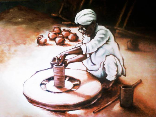 RURAL INDIA, INDIAN POT MAKER, INDIA, ,'POT MAKER',ART_1401_11740,Artist : Pradeep Shindolkar,Acrylic