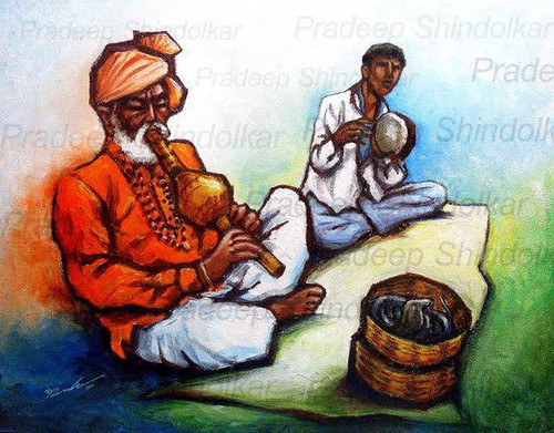 INDIA, INDIAN ART, INDIAN VILLAGE PEOPLE, INDIAN FESTIVALS,SNAKE CHARMER,ART_1401_11739,Artist : Pradeep Shindolkar,Acrylic