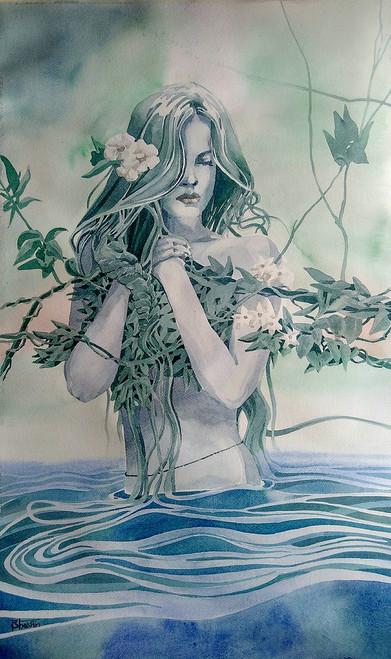 watercolor, woman, nature,Gopi,ART_558_11727,Artist : BHAVIN MEHTA,Water Colors