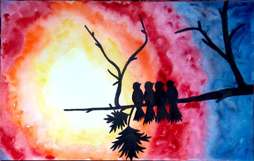 Four birds sitting together on the branch of a tree during sunset,Birds during sunset,ART_1403_11732,Artist : AARATHI MANIKANDAN,Water Colors