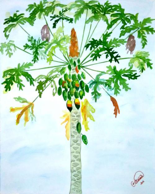 Pappaya tree with blue sky background,Pappaya tree,ART_1403_11730,Artist : AARATHI MANIKANDAN,Water Colors
