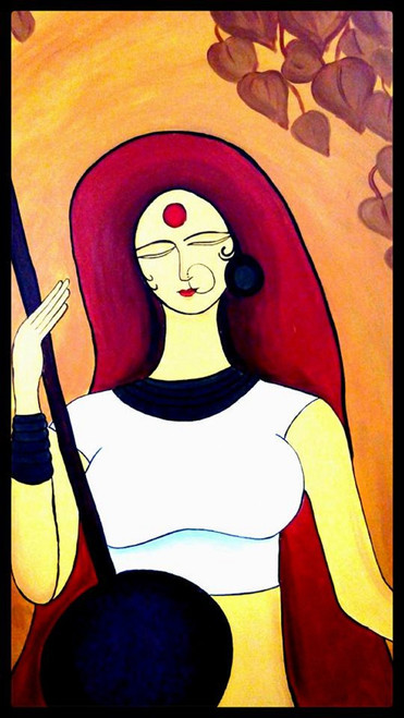 woman,meera,contemporary,waiting,36*46 - Meera 1,ART_571_8758,Artist : Madhavi Sandur,Acrylic