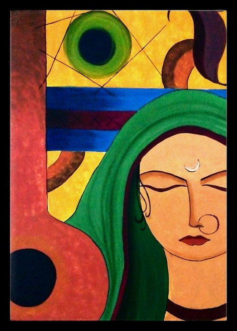woman,meera,music,contemporary,30*42 - Meera 3,ART_571_8756,Artist : Madhavi Sandur,Acrylic
