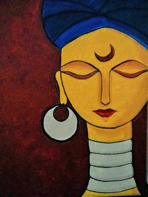 woman,turban,contemporary,solitude,18*24 - Solitude,ART_571_8755,Artist : Madhavi Sandur,Acrylic