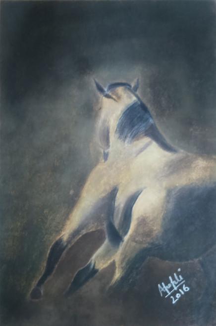 horse, dark, run, artwork, painting, soft pastels on paper, ankita popli,Dark Run,ART_1412_11772,Artist : Ankita Popli,Pastels