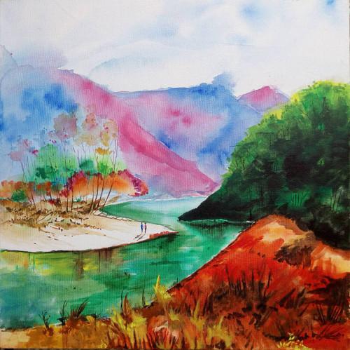 River, Valley, Mountains, People, Landscape, Evergreen,Valley,ART_208_6889,Artist : Surya Vamshi,Acrylic