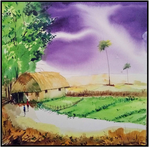 Village, Harvest, Light, Yellow,Village,ART_208_6546,Artist : Surya Vamshi,Acrylic