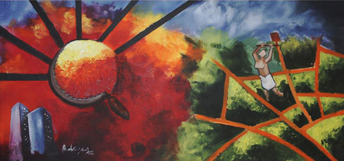 abstract, colorful, nature,,THE GENERATION GAP,ART_1405_11813,Artist : Vignesh Kumar,Acrylic