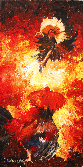 abstract, colorful, nature,,cock fight,ART_1405_11810,Artist : Vignesh Kumar,Acrylic