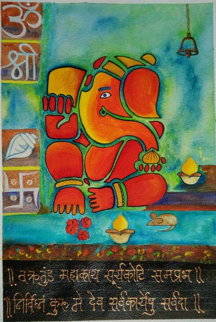 ,Ganesha,ART_1243_11745,Artist : Ujwala Chavan,Acrylic