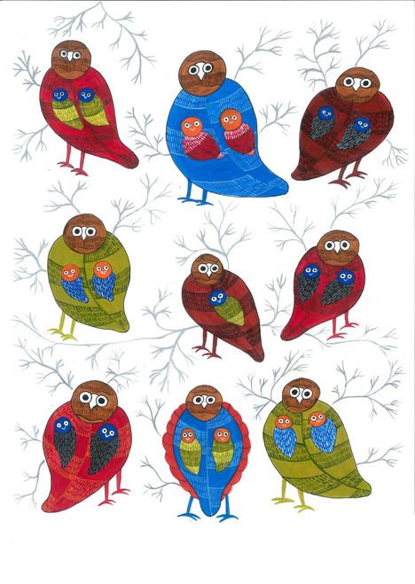 bird, forest, gond, tribal, colorful, jungle, owl,Owls,ART_283_7218,Artist : Suruchi Agarwal,Acrylic