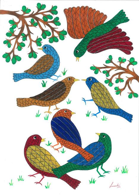 bird, gond, tribal, folk, colorful, vibrant, kids, children, hall, corridor, indian, forest, jungle,Birds,ART_283_7217,Artist : Suruchi Agarwal,Acrylic
