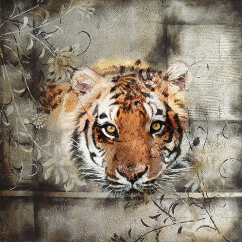 Tiger - 32in X 32in,28Animal90_3232,Yellow, Brown,80X80 Size,Flowers, Animals, Nature Art Canvas Painting