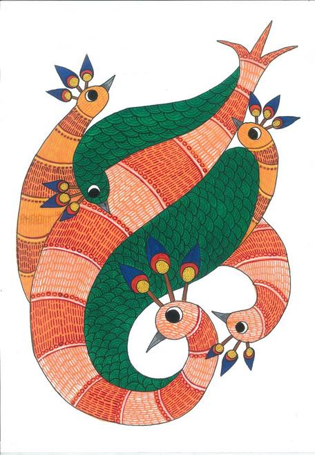 Peacock,Bird,Nature,forest,jungle,Colorful,vibrant,,Entangled Peacocks,ART_283_6271,Artist : Suruchi Agarwal,Acrylic