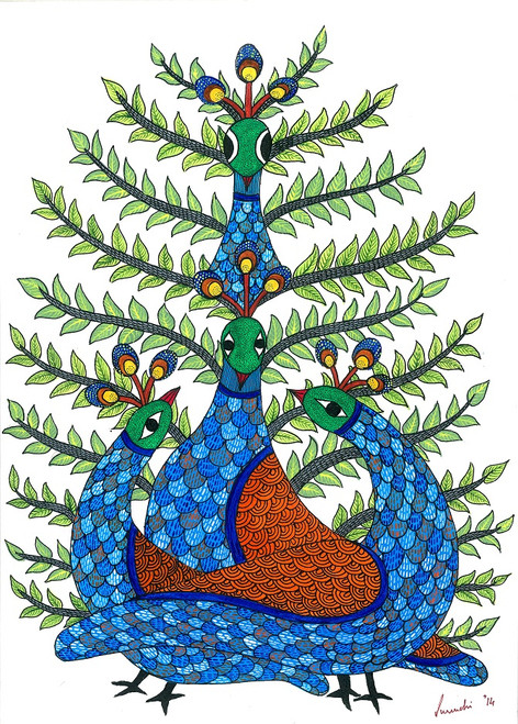 peacock, bird, leaves,forest,jungle,colorful,vibrant, gond, tribal, folk,4 peacocks,ART_283_6269,Artist : Suruchi Agarwal,Acrylic