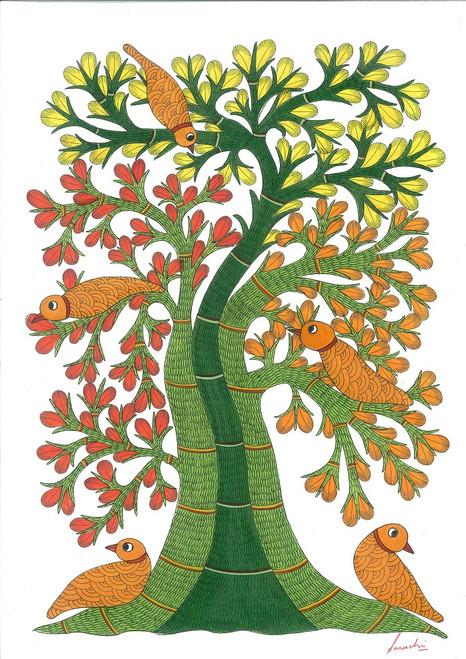 tree, colorful, tribal,folk, forest, leaves. jungle, bird,gond, ,Birds on a tree 2,ART_283_6268,Artist : Suruchi Agarwal,Acrylic