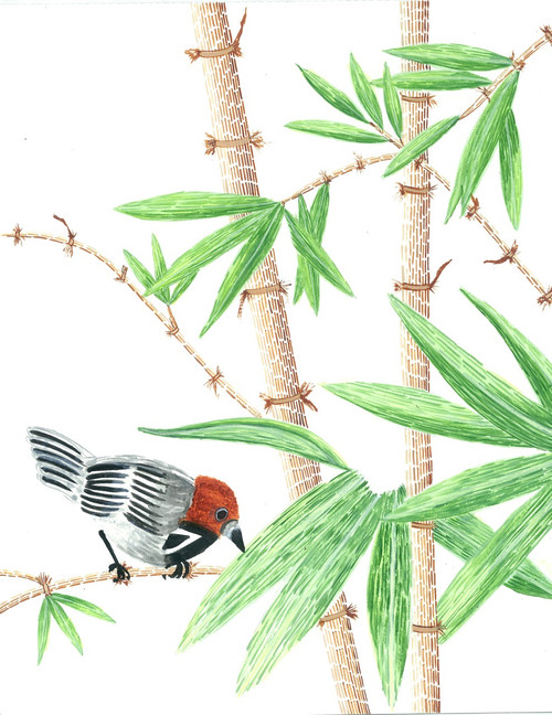 bamboo painting, bird on bamboo, tribal art, Gond art,green painting,Bamboo 2,ART_283_11053,Artist : Suruchi Agarwal,Acrylic